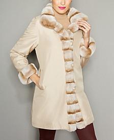 Rabbit-Fur-Trim Silk Coat