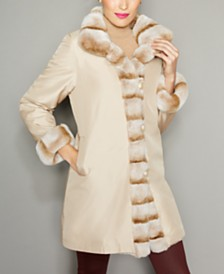 The Fur Vault Rabbit-Fur-Trim Silk Coat