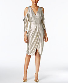 RACHEL Rachel Roy Cold-Shoulder Metallic Wrap Dress