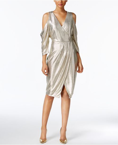 015a2be008a7d4 RACHEL Rachel Roy Cold-Shoulder Metallic Wrap Dress   Reviews ...