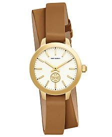 Tory Burch Women's Collins Light Brown Leather Wrap Strap Watch 32mm