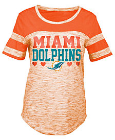 5th & Ocean Miami Dolphins Space Dye Foil Heart T-Shirt, Girls (4-16)