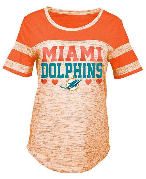 5th & Ocean Miami Dolphins Space Dye Foil Heart T-Shirt, Girls (4-16)