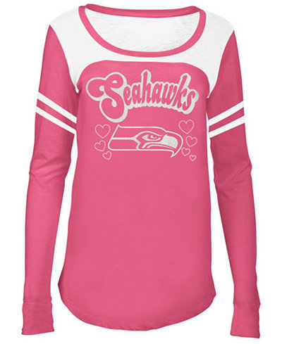 5th & Ocean Seattle Seahawks Pink Slub Long Sleeve T-Shirt, Girls (4-16)