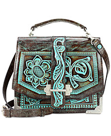 Patricia Nash Turquoise Tooled Stella Flap Shoulder Bag