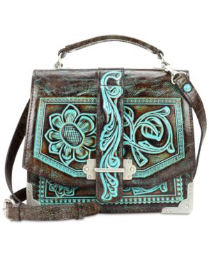 Patricia Nash Turquoise Tooled Stella Flap Shoulder Bag 4755597