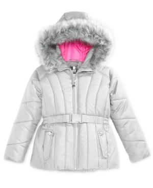 S Rothschild FoilDot Belted Puffer Jacket with FauxFur Trim Big Girls (716)