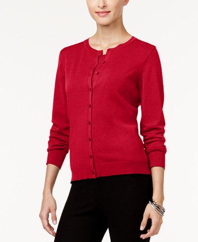 August Silk Crew-Neck Cardigan - Sweaters - Women - Macy's