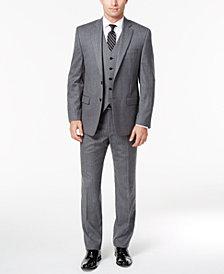 Lauren Ralph Lauren Men's Classic-Fit Ultraflex Light Gray Pinstripe Flannel Vested Suit