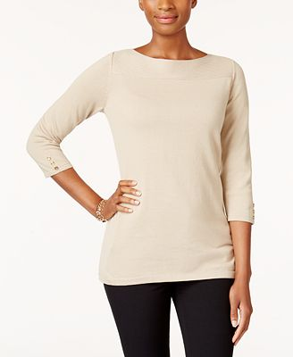 Karen Scott Petite Boat-Neck Cotton Sweater - Sweaters - Petites ...