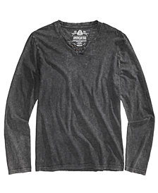 American Rag Men's Acid Wash Split-Neck Shirt, Created for Macy's