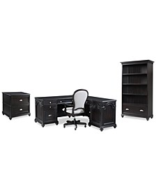 Clinton Hill Ebony Home Office Set, 4-Pc. Set (L-Shaped Desk, Lateral File Cabinet, Open Bookcase & Upholstered Desk Chair), Created for Macy's