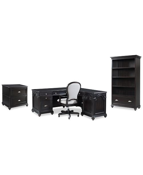Furniture Clinton Hill Ebony Home Office Furniture Set, 4-Pc. Set (L-Shaped Desk, Lateral File Cabinet, Open Bookcase & Upholstered Desk Chair), Created for Macy's