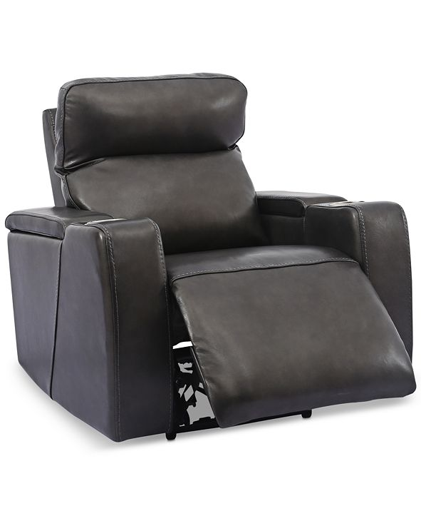 Furniture Oaklyn Leather Power Recliner With Power Headrest and USB Power Outlet