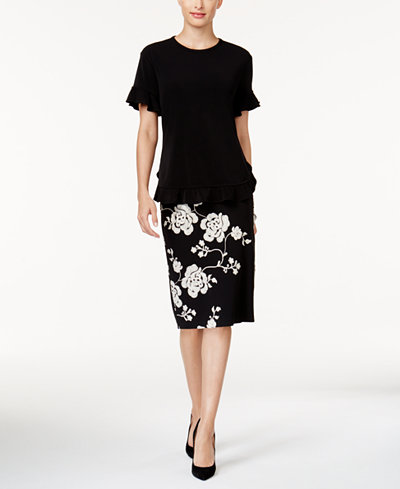 Cable & Gauge Ruffled Top & ECI Embroidered Pencil Skirt
