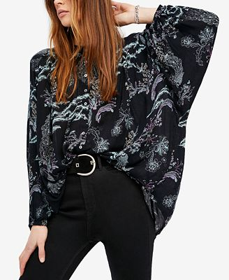 free people metallic blooms printed blouse - Free Printed Pictures