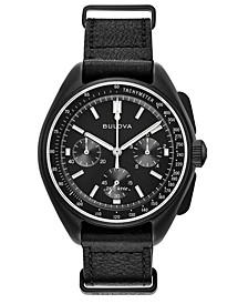 Men's Lunar Pilot Chronograph Black Leather Strap Watch 45mm