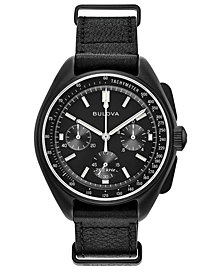 Bulova Men's Lunar Pilot Chronograph Black Leather Strap Watch 45mm