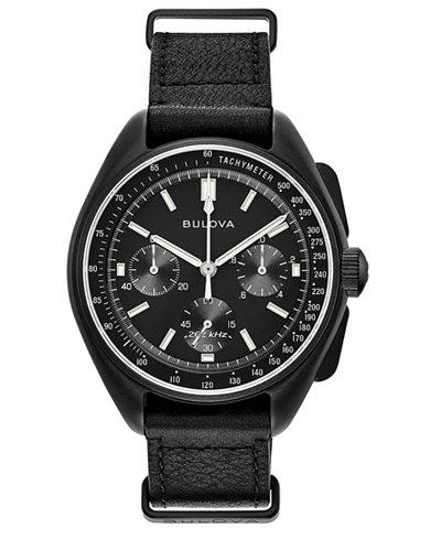 Bulova Men's Lunar Pilot Chronograph Black Leather Strap Watch 45mm