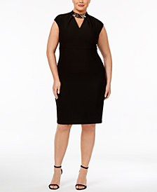 Sangria Plus Size Chain-Link Mock-Neck Dress