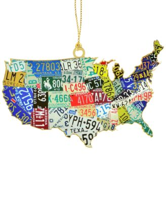 ChemArt USA License Plate Map Ornament Christmas Ornaments For