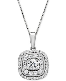 Diamond Double Halo Pendant Necklace (1 ct. t.w.) in 14k White Gold, Created for Macy's