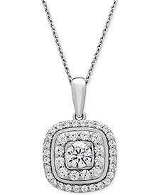 Wrapped in Love™ Diamond Double Halo Pendant Necklace (1 ct. t.w.) in 14k White Gold, Created for Macy's