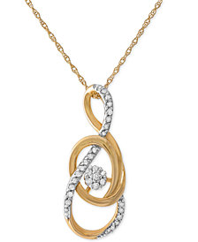 Diamond Swirl Pendant Necklace (1/10 ct. t.w.) in 10k Gold
