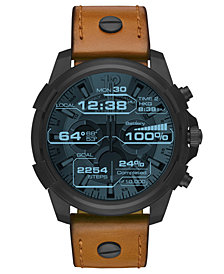 Diesel ON Men's Full Guard Brown Leather Strap Smart Watch 48mm