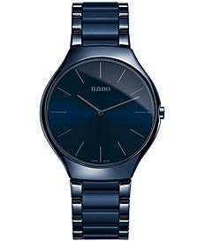 Unisex Swiss True Thinline Blue Ceramic Bracelet Watch 39mm