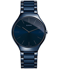 Rado Unisex Swiss True Thinline Blue Ceramic Bracelet Watch 39mm