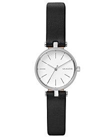Skagen Women's Signatur Black Leather Strap Watch 26mm