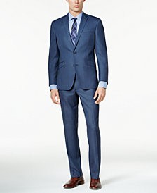 Kenneth Cole Reaction Men's Slim-Fit Medium Blue Sharkskin Techni-Cole Suit