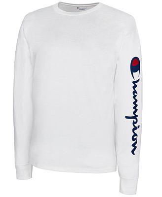 Champion Men's Jersey Script Long-Sleeve T-Shirt - Hoodies ...