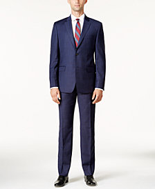 Lauren Ralph Lauren Men's Slim-Fit Dark Blue Tonal Plaid Ultraflex Suit
