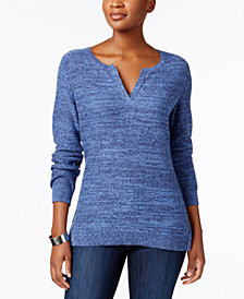Karen Scott Petite Cotton Split-Neck Sweater, Created for Macy's