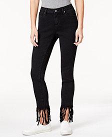 Earl Jeans Fringe-Hem Skinny Jeans