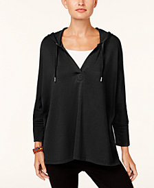 Style & Co Petite 3/4-Sleeve Hooded Top, Created for Macy's