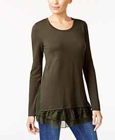 Style & Co Petite Mixed-Media Tunic, Created for Macy's