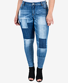 Standards and Practices Trendy Plus Size Patchwork Skinny Jeans