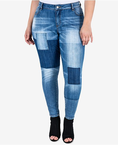 0a86eed5f8f ... standards and practices Trendy Plus Size Patchwork Skinny Jeans ...