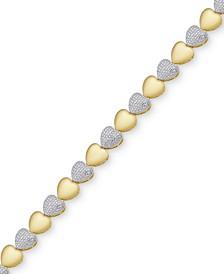 Diamond Accent Heart Link Bracelet in 18k Gold-Plate