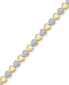 Diamond Accent Heart Link Bracelet in 18k Gold-Plate