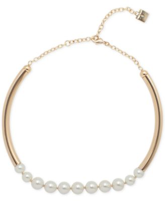 Image of Anne Klein Gold-Tone Imitation Pearl Collar Necklace