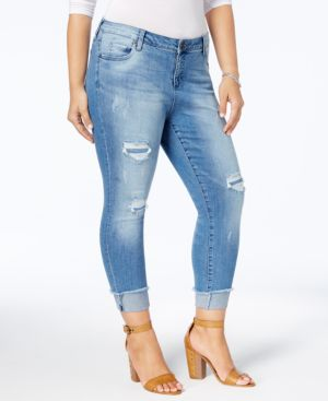 Kut from the Kloth Plus Size Connie Distressed Cropped Skinny Jeans 4832616