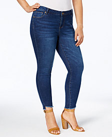 Kut from the Kloth Plus Size Connie Frayed-Hem Skinny Ankle Jeans