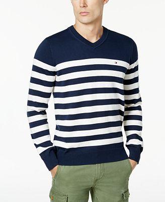 Tommy Hilfiger Mens Signature Seattle Striped V Neck Sweater