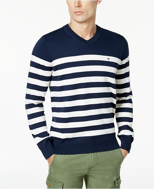 Tommy Hilfiger Mens Signature Seattle Striped V Neck Sweater