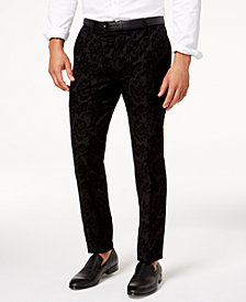 I.N.C. Men's Slim-Fit Flocked Paisley Pants, Created for Macy's