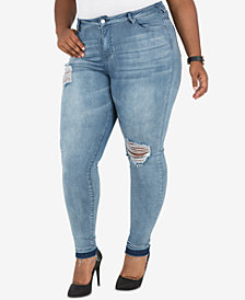 Poetic Justice Trendy Plus Size Distressed Skinny Jeans